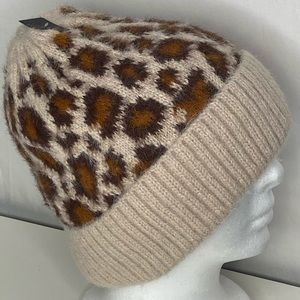 Free Press Fuzzy Leopard Plush Fleece Lined Beanie